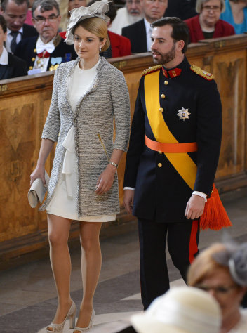 FILE - In this May 22, 2012 file photo, Prince Guillaume of Luxembourg, right, and Countess Stephanie de Lannoy, of Belgium, arrive for the christening ceremony of Princess Estelle of Sweden in the Royal Chapel in Stockholm, Sweden. This week, Guillaume, the heir to the throne _ the grand duke-to-be _ will marry Belgian Countess Stephanie de Lannoy during a two-day affair, including fireworks, concerts, a gala dinner at the grand ducal palace. There will be two marriages between the betrothed _ a civil wedding Friday afternoon, Oct. 19, 2012, and a religious ceremony Saturday morning, Oct. 20. (AP Photo/Scanpix/Claudio Bresciani/Pool, File)
