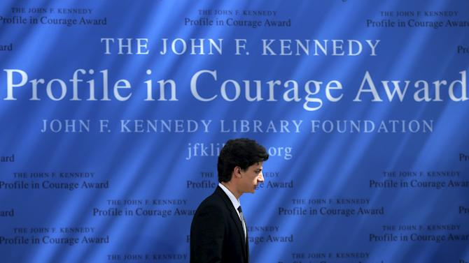 Jack Schlossberg, grandson of former U.S. President John F. Kennedy, takes the stage for the 2015 John F. Kennedy Profile in Courage Award ceremony at the Kennedy Library in Boston