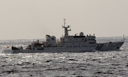 A Chinese marine surveillance ship cruises near the disputed islets in the East China Sea, on March 16, 2013