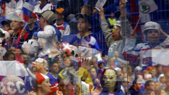 Slovakia's supporters are pictured during the game Russia versus Denmark at the ice hockey World Championship in Ostrava