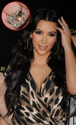 Kim Kardashian in Hollywood (inset a close-up of her engagement ring), August, 17, 2011 -- WireImage