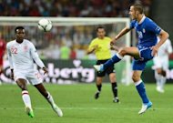 Danny Welbeck (left) moves to block a pass by Leonardo Bonucci during the Euro 2012 quarter final between England and Italy