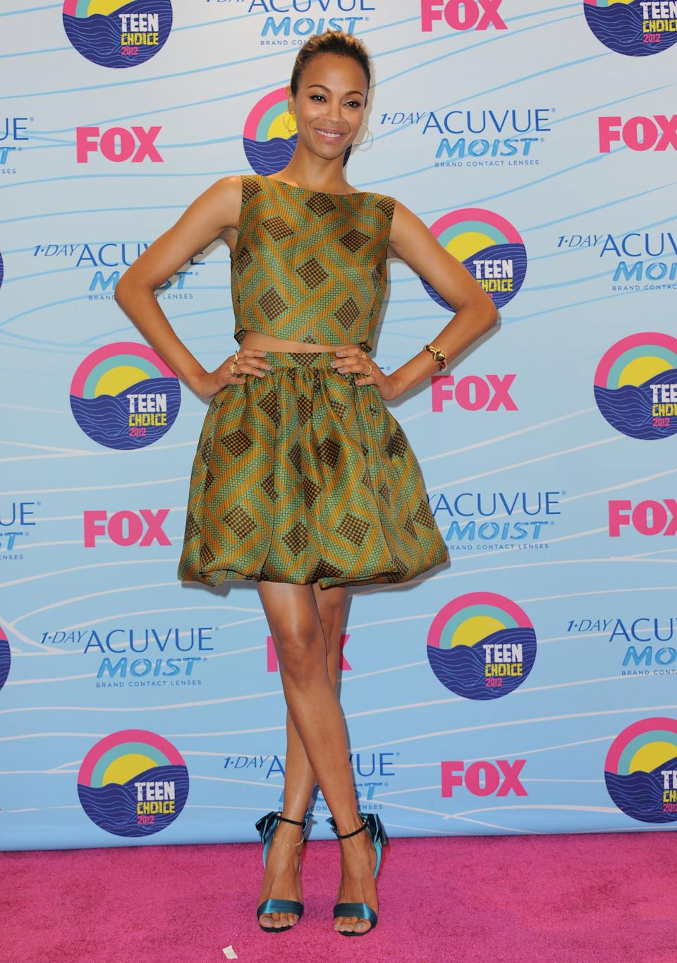 Zoe Saldana poses backstage at the Teen Choice Awards on Sunday, July 22, 2012, in Universal City, Calif. (Photo by Jordan Strauss/Invision/AP)