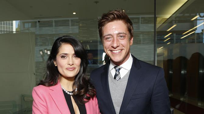 Salma Hayek and Film Independent Co-President Sean Mc Manus attend the Film Independent Spirit Awards Luncheon at BOA Steakhouse on Saturday, Jan. 12, 2013, in West Hollywood, Calif. (Photo by Todd Williamson/Invision/AP)