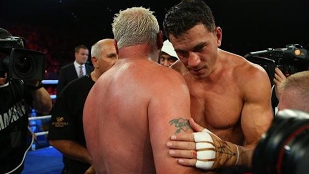 BRISBANE, AUSTRALIA - FEBRUARY 08: Sonny Bill Williams and Fancois Botha hug at the end of the fight. Sonny Bll Williams won their heavyweight bout at the Brisbane Entertainment Centre (photo: Chris Hyde)