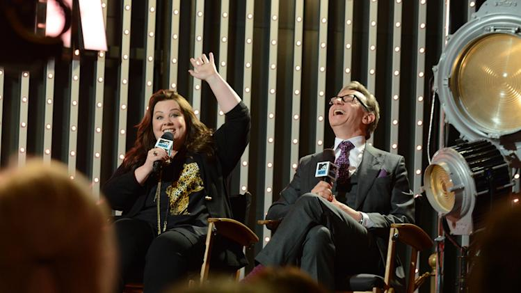 "Cast member of the  ""The Heat"" actress Melissa McCarthy, left, and director Paul Feig are seen at ""The MTV Movie Awards Sneak Peek Week"" on Thursday, April 11, 2013, in Universal City, Calif. (Photo by Jordan Strauss/Invision for MTV/AP Images)"
