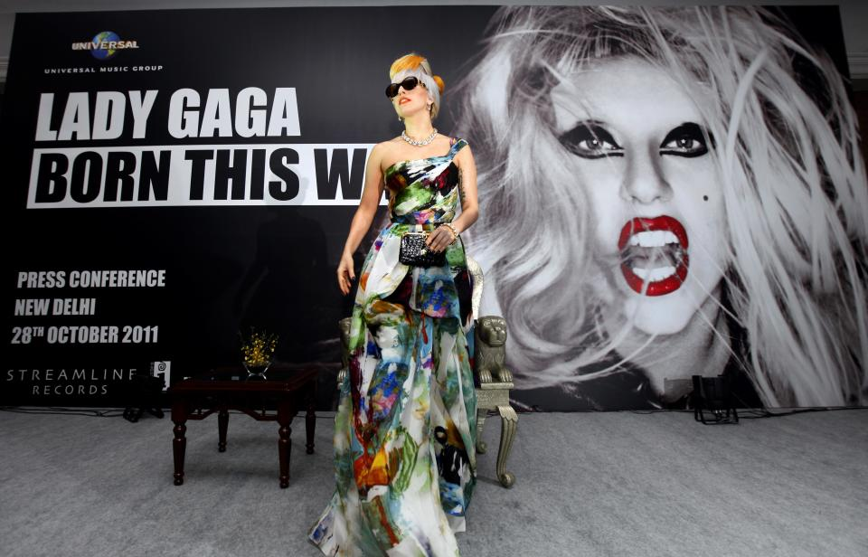 US singer Lady Gaga arrives at a press conference in New Delhi, India, Friday, Oct. 28, 2011. (AP Photo/Mustafa Quraishi)
