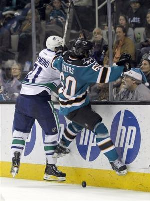 Ebbett's OT goal lifts Canucks over Sharks 3-2