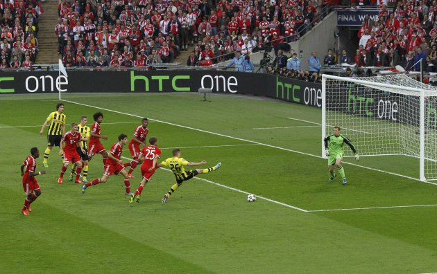 Borussia Dortmund's Lukasz Piszczek shoots but fails to score during their Champions League Final soccer match against Bayern Munich at Wembley Stadium in London