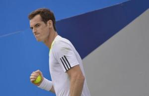 Britain's Murray celebrates reacts during his men's singles tennis match against France's Mathieu at the Queen's Club Championships tennis tournament in west London
