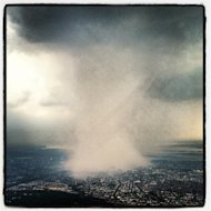Former NFL player Dhani Jones posted this image of a rain shaft over Queens to his twitter account (@dhanijones) from Instagram (@d0057) on July 18, 2012.
