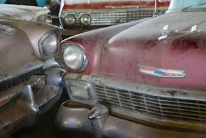 In this Aug. 12, 2013 photo, old Chevrolet automobiles, …