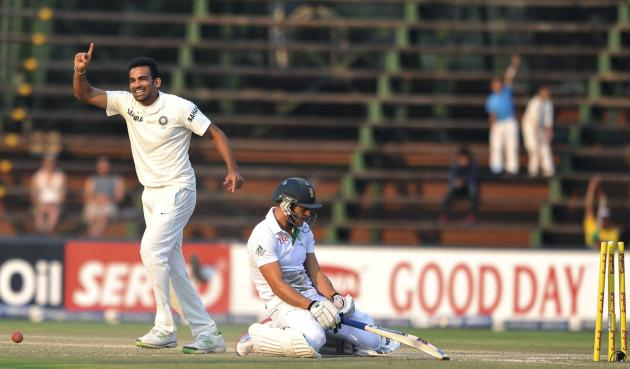 India's Khan celebrates the dismissal of South Africa's Du Plessis during the final day of their test cricket match in Johannesburg
