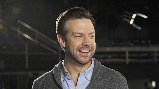 """This Feb. 26, 2013 photo released by NBC shows castmember Jason Sudeikis on the set of """"Saturday Night Live,"""" in New York. After eight years on the air at """"Saturday Night Live,"""" Jason Sudeikis says he's calling it quits. Sudeikis used another late-night institution to make his announcement, telling David Letterman in the taping of the show on Wednesday, July 24, that he's leaving NBC's weekend program. Sudeikis had a busy election year on """"Saturday Night Live,"""" portraying both Republican Mitt Romney and Vice President Joe Biden. (AP Photo/NBC, Dana Edelson)"""