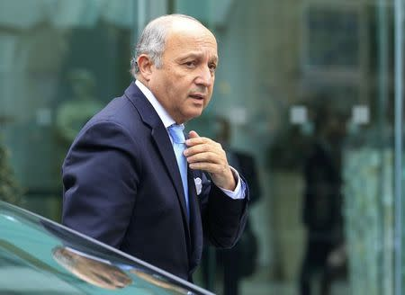 French Foreign Minister Fabius arrives for a meeting in Vienna
