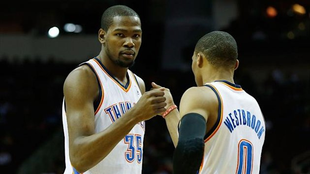 Kevin Durant and Russell Westbrook of the Oklahoma City Thunder (AFP)