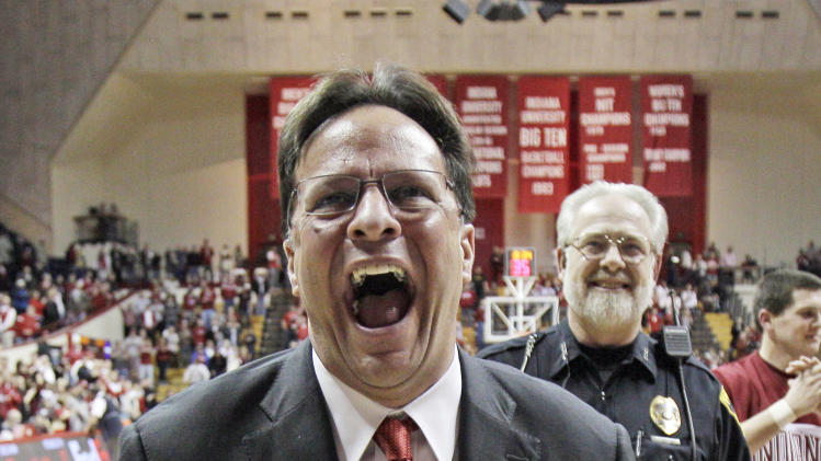 FILE - In this Feb. 2, 2011, file photo, Indiana coach Tom Crean reacts after Indiana defeated Minnesota 60-57 in an NCAA college basketball game in Bloomington, Ind., The Hoosiers are No. 1 in The Associated Press' preseason Top 25 for the third time and the first since the 1979-80 season. They received 43 first-place votes from the 65-member national media panel Friday. (AP Photo/Darron Cummings, File)