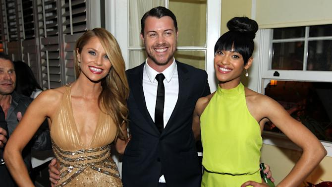 "IMAGE DISTRIBUTED FOR STARZ - Cynthia Addai-Robinson, right, Dan Feuerriegel, center, and Ellen Hollman pose together at the after party for the premiere of ""Spartacus: War of the Damned"" on Tuesday, Jan. 22, 2013 in Los Angeles. ""Spartacus: War of the Damned"" premieres Friday, Jan. 25 at 9PM on STARZ. (Photo by Matt Sayles/Invision for STARZ/AP Images)"