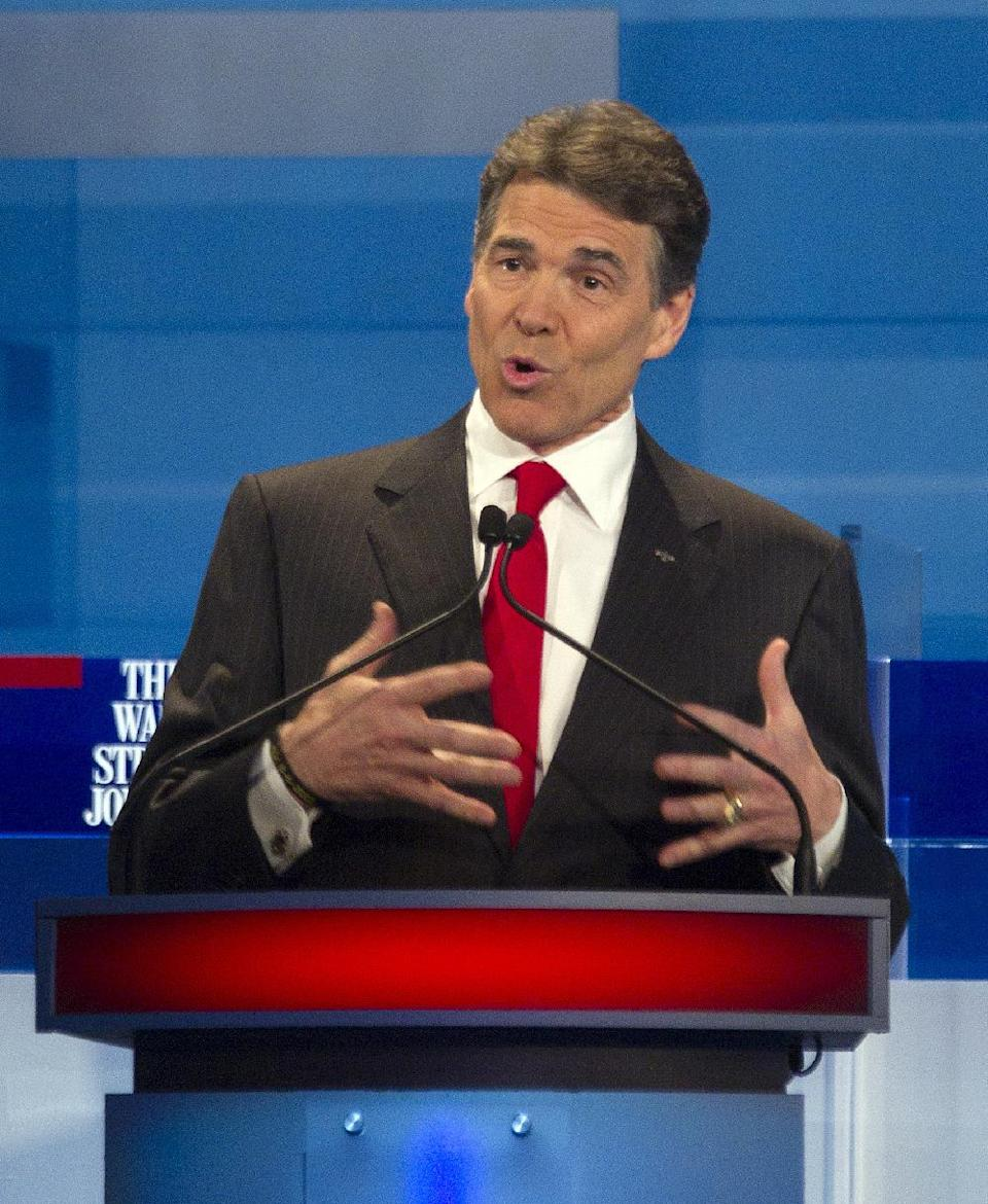 Republican presidential candidateTexas Gov. Rick Perry speaks during the South Carolina Republican presidential candidate debate Monday, Jan. 16, 2012, in Myrtle Beach, S.C. (AP Photo/David Goldman)