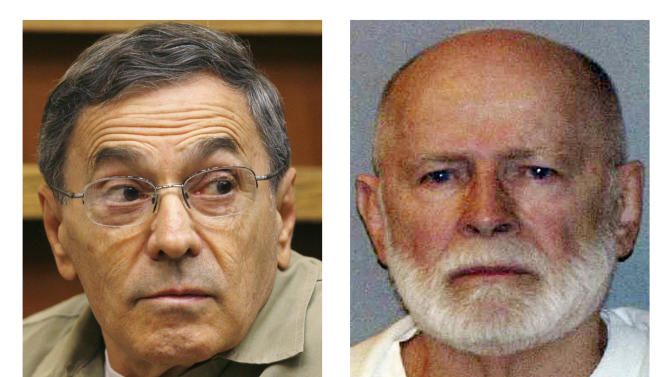 "This pair of file photos shows Stephen ""The Rifleman"" Flemmi, left, on Sept. 22, 2008, as he testified in a Miami court in the murder trial of former FBI agent John Connolly; and James ""Whitey"" Bulger, right, in a June 23, 2011 booking photo provided by the U.S. Marshals Service. Flemmi, Bulger's alleged former partner serving a life sentence after pleading guilty to 10 killings, is expected to testify in Bulger's trial Thursday, July 18, 2013 in federal court in Boston. Bulger, now 83, is accused in a 32-count racketeering indictment and in playing a role in 19 killings in the 1970s and '80s while he allegedly led the Winter Hill Gang in Boston. (AP Photos/J. Pat Carter and U.S. Marshals Service, File)"