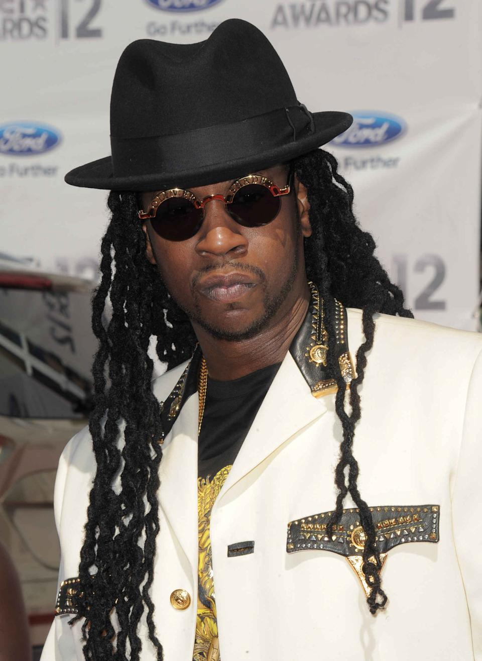 Tauheed Epps, known as 2 Chainz, arrives at the BET Awards on Sunday, July 1, 2012, in Los Angeles. (Photo by Jordan Strauss/Invision/AP)