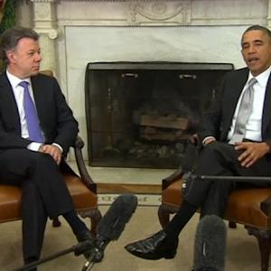 Obama welcomes Colombian President at the White House