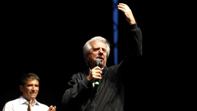 Presidential candidate for the ruling Frente Amplio party Vazquez gives his final speech in Montevideo