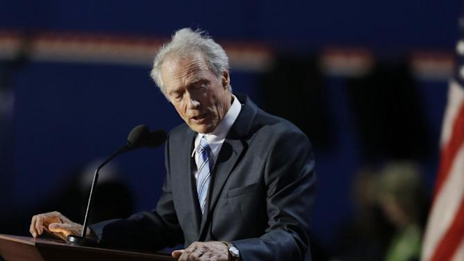 Actor Clint Eastwood speaks to an empty chair while addressed delegates during the Republican National Convention in Tampa, Fla., on Thursday, Aug. 30, 2012. (AP Photo/Lynne Sladky)