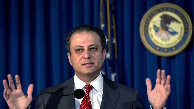 U.S. Attorney Preet Bharara speaks during a news conference in New York