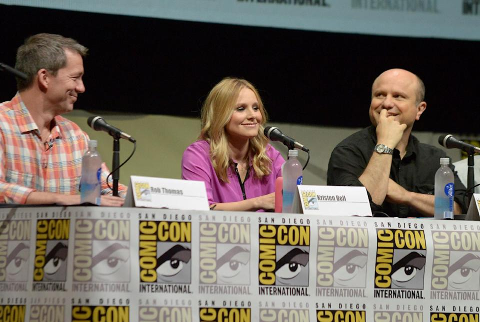 "From left, writer Rob Thomas, Kristen Bell and Enrico Colantoni participate in the ""Veronica Mars"" panel on Day 3 of Comic-Con International on Friday, July 19, 2103, in San Diego. (Photo by Jordan Strauss/Invision/AP)"