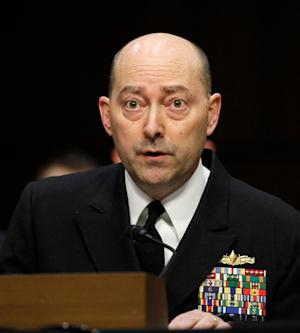 Adm. James G. Stavridis, commander, U.S. European Command and Supreme Allied Commander, Europe, testifies on Capitol Hill in Washington, Tuesday, March 19, 2013, before the Senate Armed Services Committee hearing on U.S. European Command, U.S. Northern Command, and U.S. Southern Command in review of the Defense Authorization Request for Fiscal Year 2014. (AP Photo/Molly Riley)