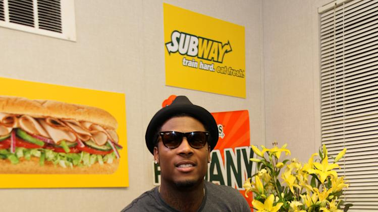 Buffalo Bills wide receiver Steve Johnson stops by the Subway Fresh Take Green Room before heading on the set of ESPN's Mike & Mike in the Morning for Super Week in New Orleans on Friday, Feb. 1, 2013. (Photo by Barry Brecheisen/Invision for SUBWAY/AP Images)