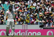 Australian batsman Phil Hughes raises his bat after reaching 50 on day two of the third Test against Sri Lanka on January 4, 2013. Australia will field debutants in their top three batting spots in Friday&#39;s one-day international series opener against Sri Lanka in Melbourne. Hughes and Aaron Finch will open the batting