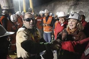 Reuters: Mario Sepulveda, the second miner to be rescued