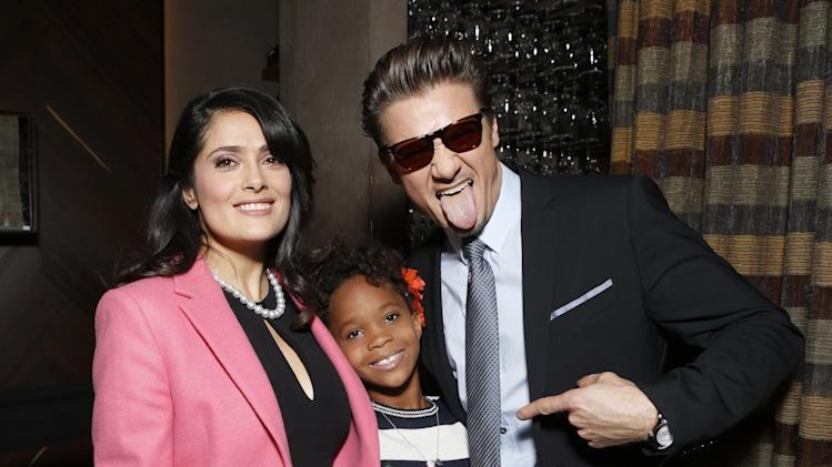 Salma Hayek, Quvenzhane Wallis and Jeremy Renner attend the Film Independent Spirit Awards Luncheon at BOA Steakhouse on Saturday, Jan. 12, 2013, in West Hollywood, Calif. (Photo by Todd Williamson/Invision/AP)