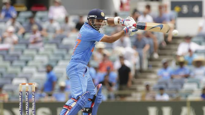 India's Rahane cuts during their ODI against England at the WACA ground in Perth
