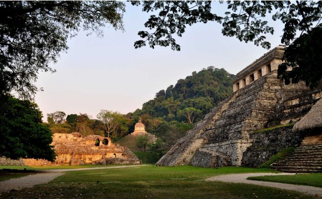 Undated handout photo by the INAH shows the exterior of the tomb of a Mayan ruler at the ruins of the Mayan city of Palenque in the Mexican state of Chiapas
