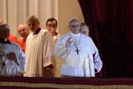 <p>Argentinian cardinal Jorge Mario Bergoglio appears on the balcony of St Peter's Basilica after being elected the 266th pope of the Roman Catholic Church on March 13, 2013 at the Vatican. Pope Francis arrived at a Rome basilica on Thursday for a private prayer on his first full day as the leader of the Roman Catholic Chuch, following his historic election.</p>
