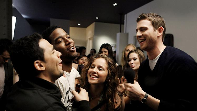 "Victor Rasuk, Scott ""Kid Cudi"" Mescudi, Margarita Levieva, and Bryan Greenberg in ""How To Make It In America."""