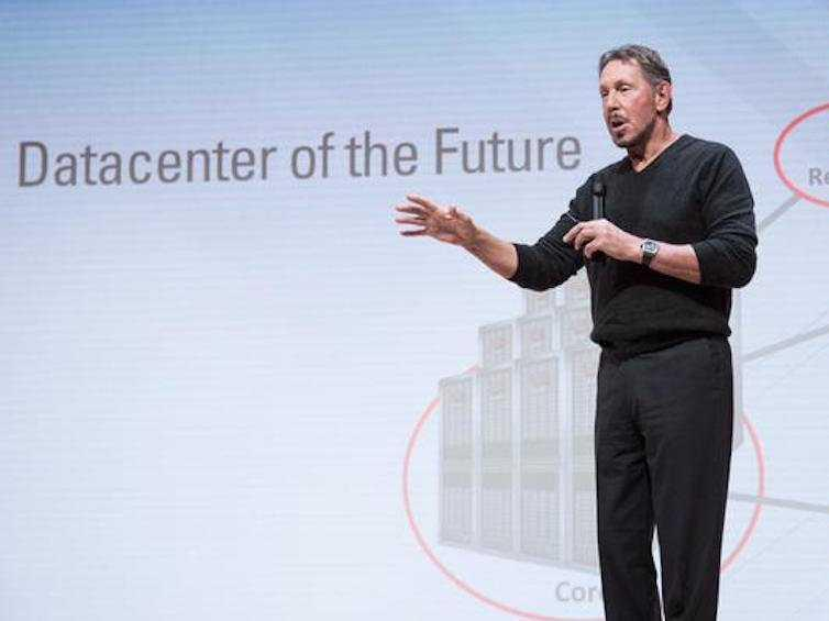 Oracle's Larry Ellison bails on a keynote speech and the reaction was pretty funny