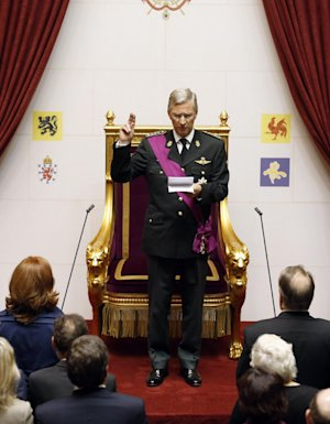 Belgium's Prince Philippe takes the oath at the Palace…