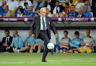 Spanish head coach Vicente Del Bosque controls the ball during the Euro 2012 football championships final match Spain vs Italy at the Olympic Stadium in Kiev