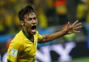 Brazil's Neymar celebrates his goal against Croatia during their 2014 World Cup opening match at the Corinthians arena in Sao Paulo