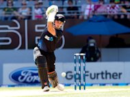 New Zealand's Hamish Rutherford bats during the 3rd and final One Day International cricket match between New Zealand and England played at Eden Park in Auckland on February 23, 2013. New Zealand have chosen three new players, dropped two veterans and will experiment with a new opening partnership in a squad named Sunday for the upcoming England Test series