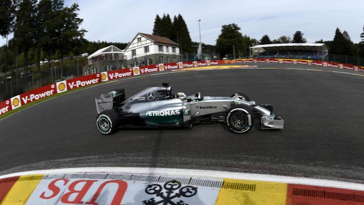 Hamilton drives on the track during a practice session ahead of the weekend's Belgian F1 Grand Prix in Spa-Francorchamps
