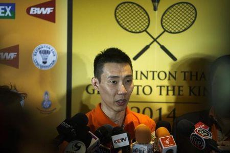 Malaysia's Lee Chong Wei speaks to media during a news conference in Bangkok