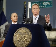 <p>               NFL Commissioner Roger Goodell gestures as he addresses the media as New York City Mayor Michael Bloomberg listens during a news conference to announce plans for the Super Bowl Thursday, Jan. 24, 2013, in New York.  (AP Photo/Frank Franklin II)