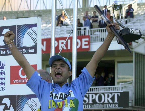 India's  captain  Sourav Ganguly jubilates as he l