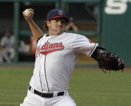 Cleveland Indians pitcher Zach McAllister makes his Major League debut during the first inning of a baseball game against the Toronto Blue Jays, Thursday, July 7, 2011, in Cleveland. (AP Photo/Amy Sancetta)