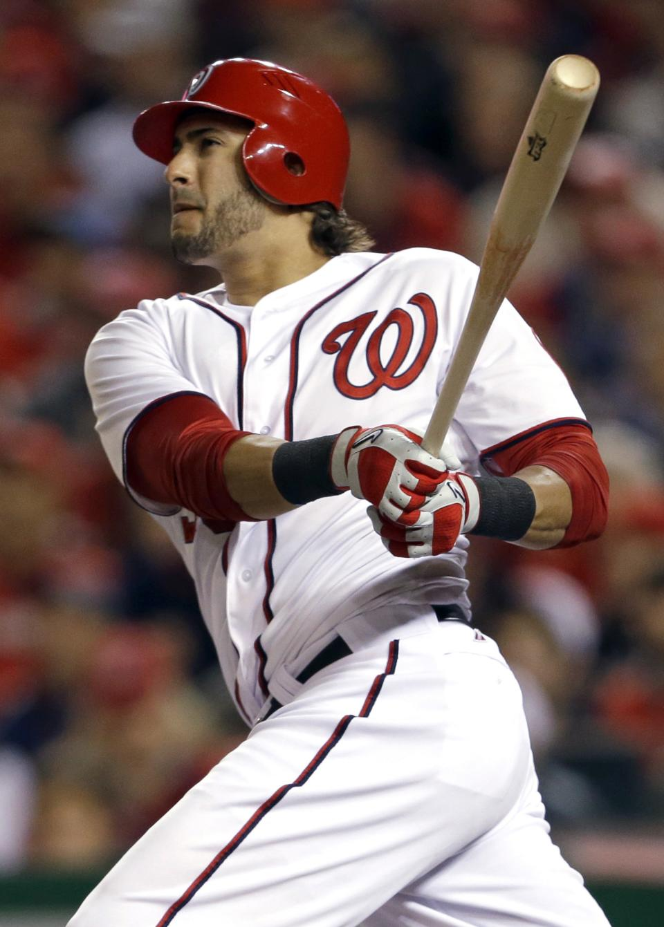 Washington Nationals' Michael Morse watches his two-run home run in the third inning of Game 5 of the National League division baseball series†against the St. Louis Cardinals on Friday, Oct. 12, 2012, in Washington. (AP Photo/Pablo Martinez Monsivais)